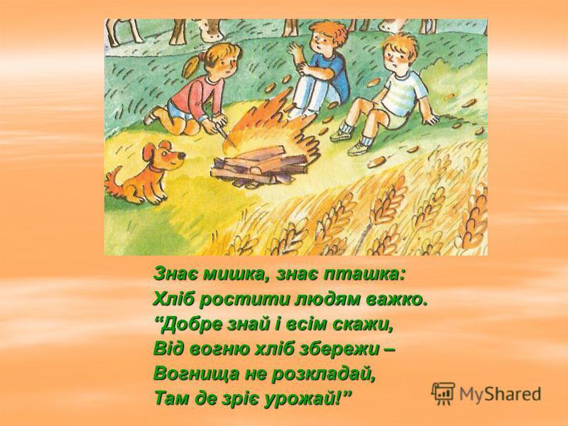 Знає мишка, знає пташка: Хліб ростити людям важко. Добре знай і всім скажи, Від вогню хліб збережи – Вогнища не розкладай, Там де зріє урожай!