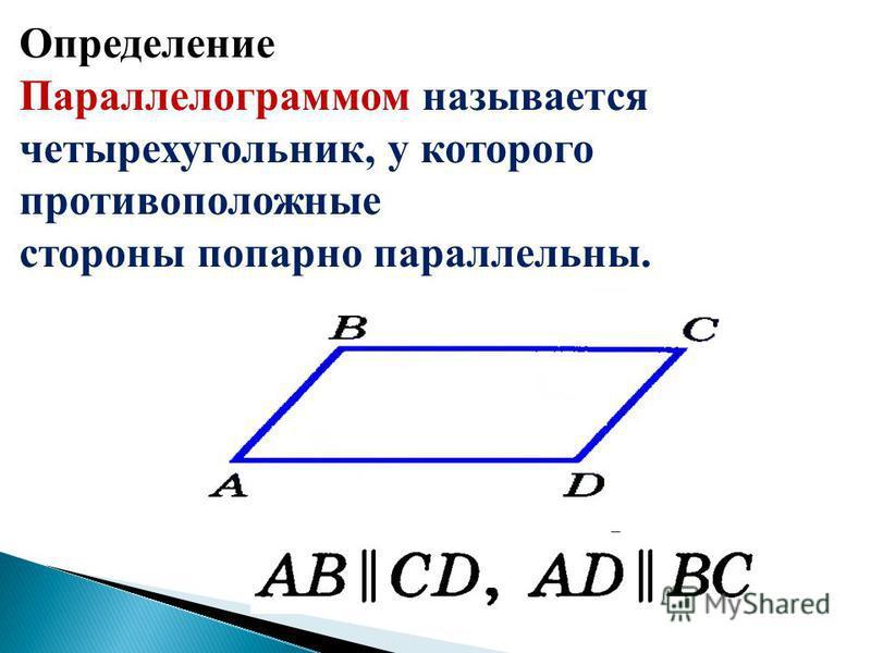 Определение Параллелограммом называется четырехугольник, у которого противоположные стороны попарно параллельны.