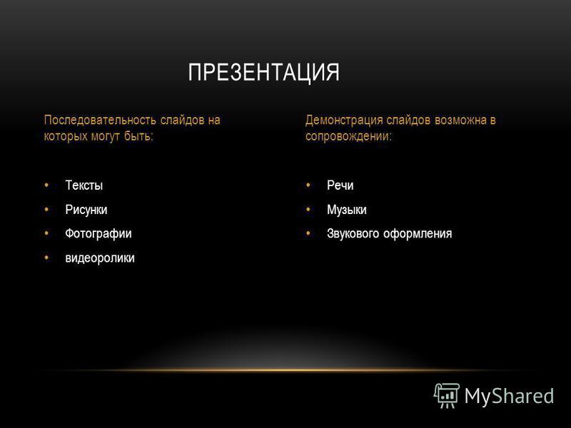 Речи Музыки Звукового оформления Тексты Рисунки Фотографии видеоролики ПРЕЗЕНТАЦИЯ Последовательность слайдов на которых могут быть: Демонстрация слайдов возможна в сопровождении: