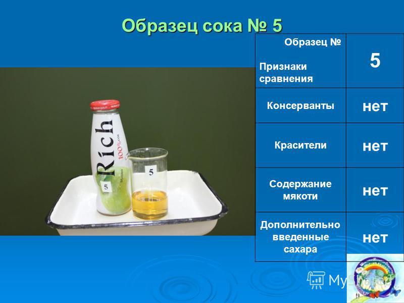Образец сока 5 Образец Признаки сравнения 5 Консерванты нет Красители нет Содержание мякоти нет Дополнительно введенные сахара нет