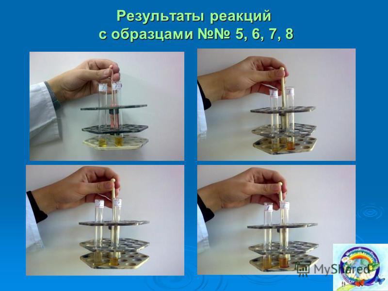 Результаты реакций с образцами 5, 6, 7, 8