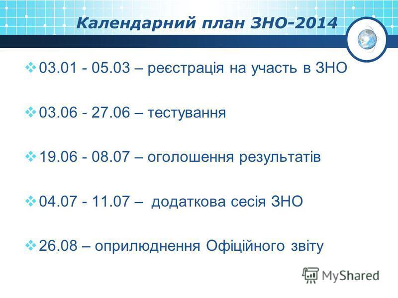 Календарний план ЗНО-2014 03.01 - 05.03 – реєстрація на участь в ЗНО 03.06 - 27.06 – тестування 19.06 - 08.07 – оголошення результатів 04.07 - 11.07 – додаткова сесія ЗНО 26.08 – оприлюднення Офіційного звіту