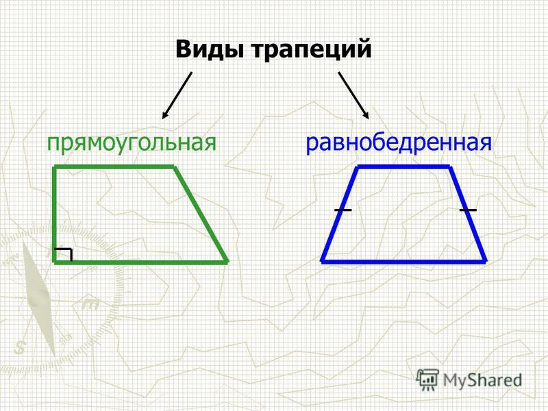 Виды трапеций равнобедренная прямоугольная