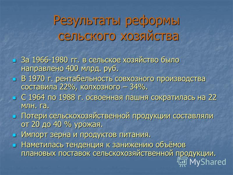 Результаты реформы сельского хозяйства За 1966-1980 гг. в сельское хозяйство было направлено 400 млрд. руб. За 1966-1980 гг. в сельское хозяйство было направлено 400 млрд. руб. В 1970 г. рентабельность совхозного производства составила 22%, колхозног