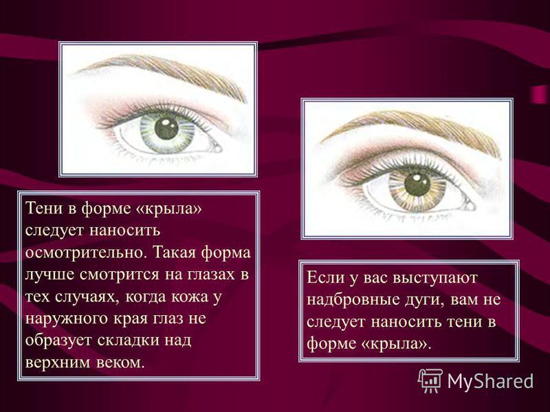 Тени в форме «крыла» следует наносить осмотрительно. Такая форма лучше смотрится на глазах в тех случаях, когда кожа у наружного края глаз не образует складки над верхним веком. Если у вас выступают надбровные дуги, вам не следует наносить тени в фор