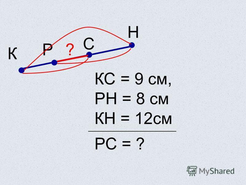 Р С К КС = 9 см, РН = 8 см КН = 12 см РС = ? Н ?