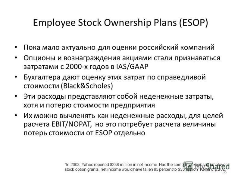 18 Employee Stock Ownership Plans (ESOP) Пока мало актуально для оценки российский компаний Опционы и вознаграждения акциями стали признаваться затратами с 2000-х годов в IAS/GAAP Бухгалтера дают оценку этих затрат по справедливой стоимости (Black&Sc