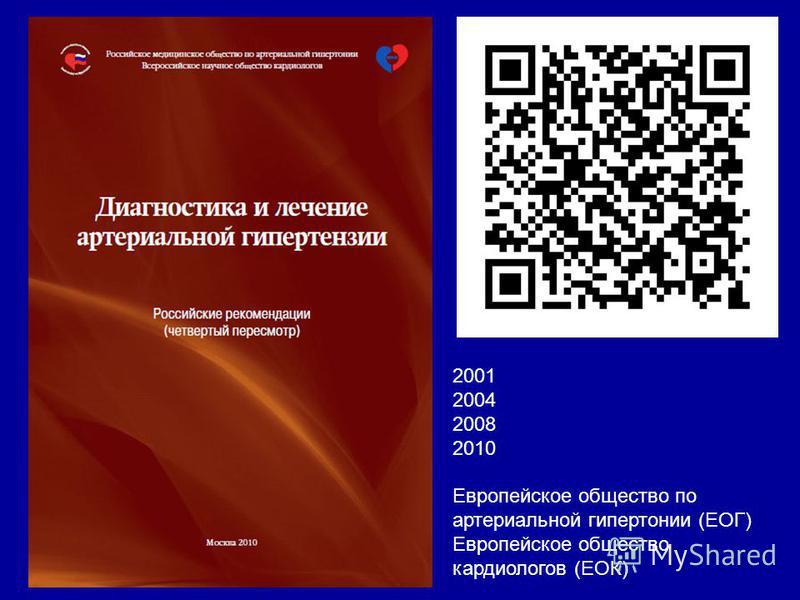 2001 2004 2008 2010 Европейское общество по артериальной гипертонии (ЕОГ) Европейское общество кардиологов (ЕОК)