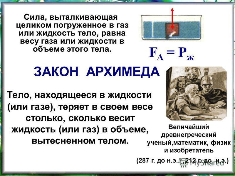 Сила, выталкивающая целиком погруженное в газ или жидкость тело, равна весу газа или жидкости в объеме этого тела. F A = Р ж ЗАКОН АРХИМЕДА Тело, находящееся в жидкости (или газе), теряет в своем весе столько, сколько весит жидкость (или газ) в объем