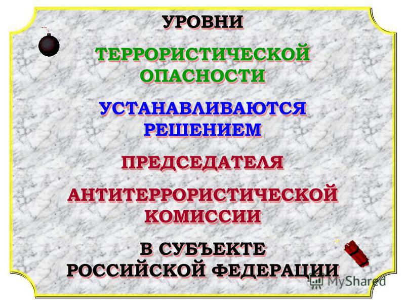 УРОВНИ ТЕРРОРИСТИЧЕСКОЙ ОПАСНОСТИ УСТАНАВЛИВАЮТСЯ РЕШЕНИЕМ ПРЕДСЕДАТЕЛЯ АНТИТЕРРОРИСТИЧЕСКОЙ КОМИССИИ В СУБЪЕКТЕ РОССИЙСКОЙ ФЕДЕРАЦИИ УРОВНИ ТЕРРОРИСТИЧЕСКОЙ ОПАСНОСТИ УСТАНАВЛИВАЮТСЯ РЕШЕНИЕМ ПРЕДСЕДАТЕЛЯ АНТИТЕРРОРИСТИЧЕСКОЙ КОМИССИИ В СУБЪЕКТЕ РОС