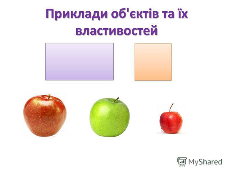 Приклади об'єктів та їх властивостей