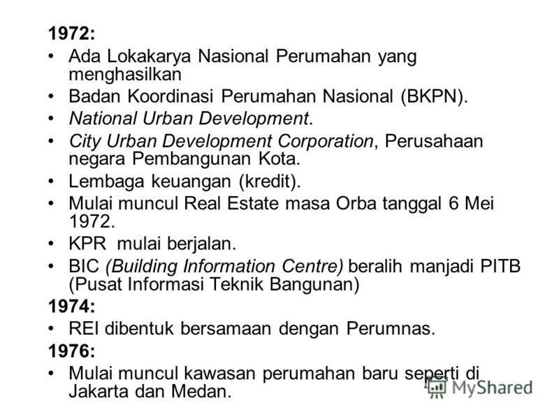 1972: Ada Lokakarya Nasional Perumahan yang menghasilkan Badan Koordinasi Perumahan Nasional (BKPN). National Urban Development. City Urban Development Corporation, Perusahaan negara Pembangunan Kota. Lembaga keuangan (kredit). Mulai muncul Real Esta
