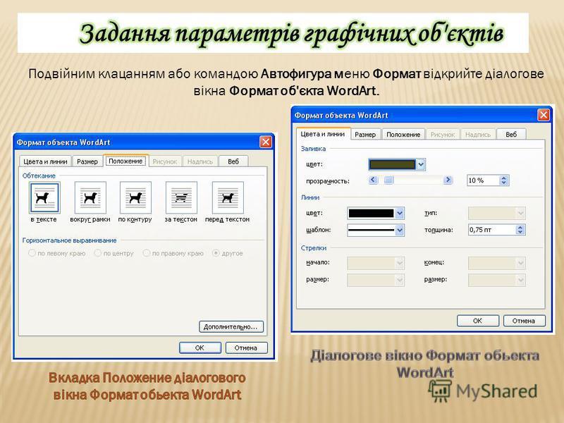 Подвійним клацанням або командою Автофигура меню Формат відкрийте діалогове вікна Формат об'єкта WordArt.
