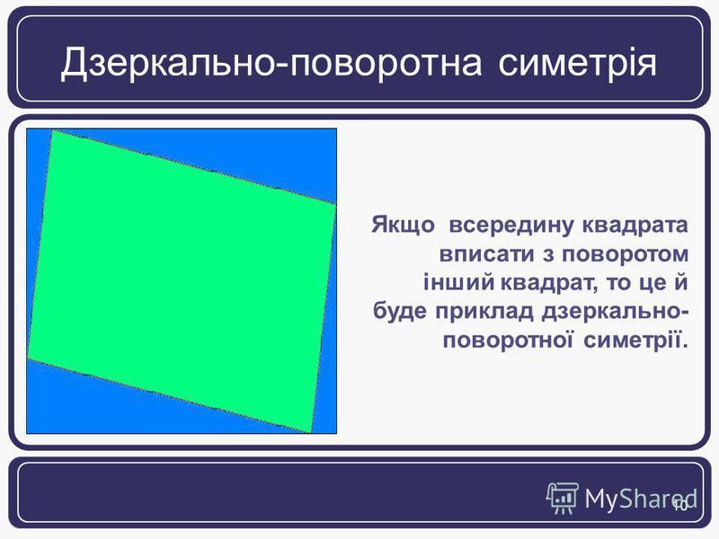 10 Дзеркально-поворотна симетрія Якщо всередину квадрата вписати з поворотом інший квадрат, то це й буде приклад дзеркально- поворотної симетрії.