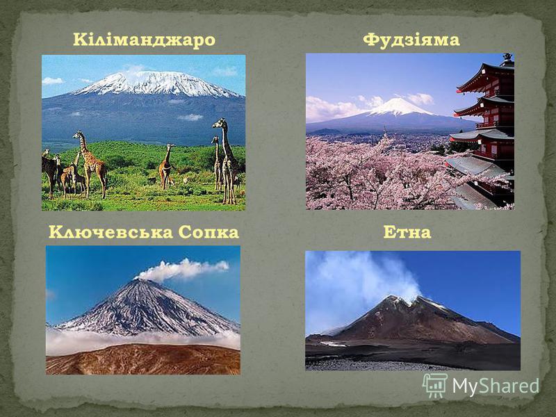 КіліманджароФудзіяма Ключевська СопкаЕтна