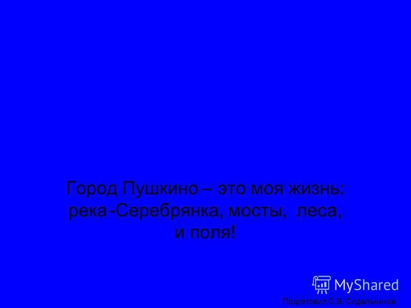 Мой любимый город Пушкино Подготовил С.В. Сидельников Город Пушкино – это моя жизнь: река-Серебрянка, мосты, леса, и поля!
