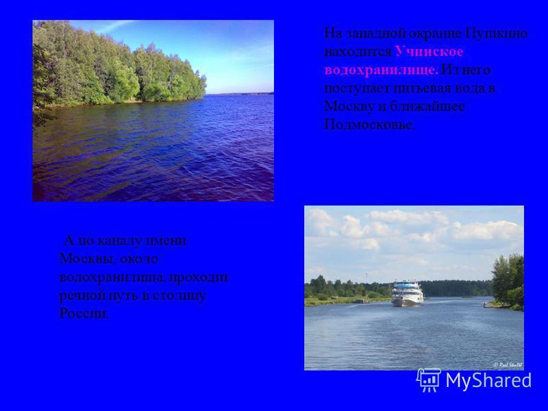 На западной окраине Пушкино находится Учинское водохранилище. Из него поступает питьевая вода в Москву и ближайшее Подмосковье. А по каналу имени Москвы, около водохранилища, проходит речной путь в столицу России.