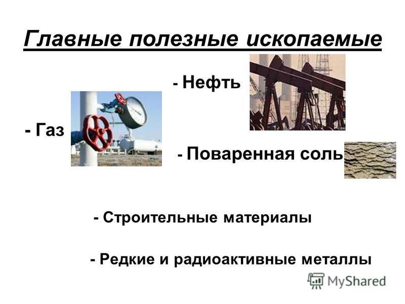 Главные полезные ископаемые - Нефть - Газ - Поваренная соль - Строительные материалы - Редкие и радиоактивные металлы