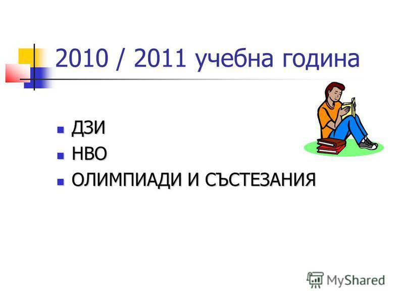 2010 / 2011 учебна година ДЗИ ДЗИ НВО НВО ОЛИМПИАДИ И СЪСТЕЗАНИЯ ОЛИМПИАДИ И СЪСТЕЗАНИЯ