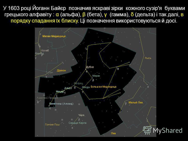 У 1603 році Йоганн Байєр позначив яскраві зірки кожного сузір'я буквами грецького алфавіту : α (альфа), β (бета), γ (гамма), δ (дельта) і так далі, в порядку спадання їх блиску. Ці позначення використовуються й досі.