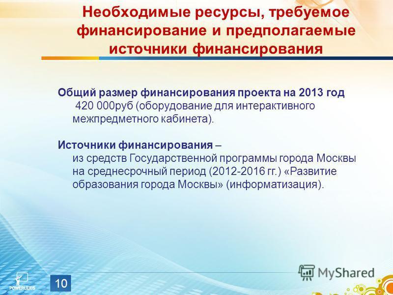 Необходимые ресурсы, требуемое финансирование и предполагаемые источники финансирования Общий размер финансирования проекта на 2013 год 420 000 руб (оборудование для интерактивного межпредметного кабинета). Источники финансирования – из средств Госуд