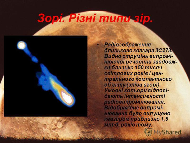 Радіозображення близького квазара 3С273. Видно струмінь випромі- нюючої речовини завдовж- ки близько 150 тисяч світлових років і цен- трального компактного об'єкту (зліва вгорі). Умовні кольори відпові- дають інтенсивності радіовипромінювання. Відобр