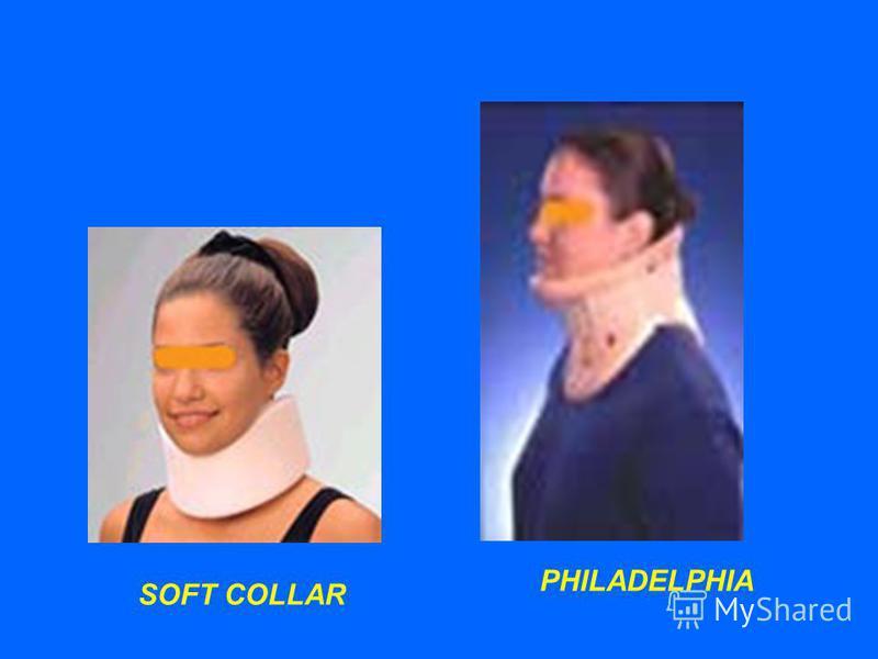Cervical orthose Soft cervical collar (F-E control orthose) mengurangi gerakan cervikal fleksi & ekstensi membantu mengurangi spasme otot dan penyembuhan cedera jar lunak Hard cervical collar (Philadelphia) mengontrol gerakan fleksi, ekstensi, rotasi