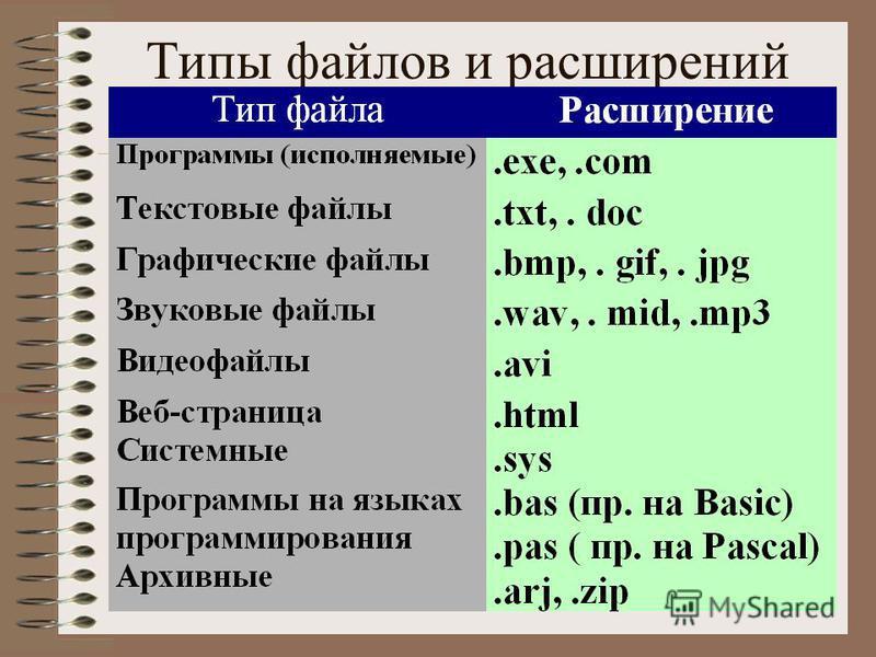 Тип файла расширение исполняемые программы exe, com текстовые файлы txt, rt