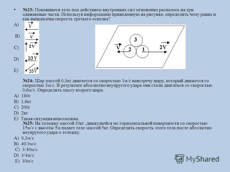 23: Покоящиеся тело под действием внутренних сил мгновенно распалось на три одинаковые части. Используя информацию приведенную на рисунке, определить чему равна и как направлена скорость третьего осколка? А) B) C) D) E) 24: Шар массой 0,3 кг двигаетс