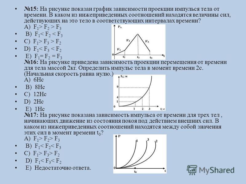 15: На рисунке показан график зависимости проекции импульса тела от времени. В каком из нижеприведенных соотношений находятся величины сил, действующих на это тело в соответствующих интервалах времени? А) F 1 > F 2 > F 3 B) F 1 < F 2 < F 3 C) F 1 > F