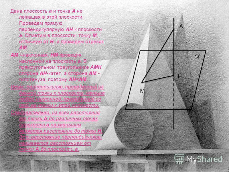 Дана плоскость а и точка А не лежащая в этой плоскости. Проведем прямую перпендикулярную АН к плоскости а. Отметим в плоскости точку М, отличную от Н, и проведем отрезок АМ. АМ –наклонная, НМ-проекция наклонной на плоскость а. В прямоугольном треугол