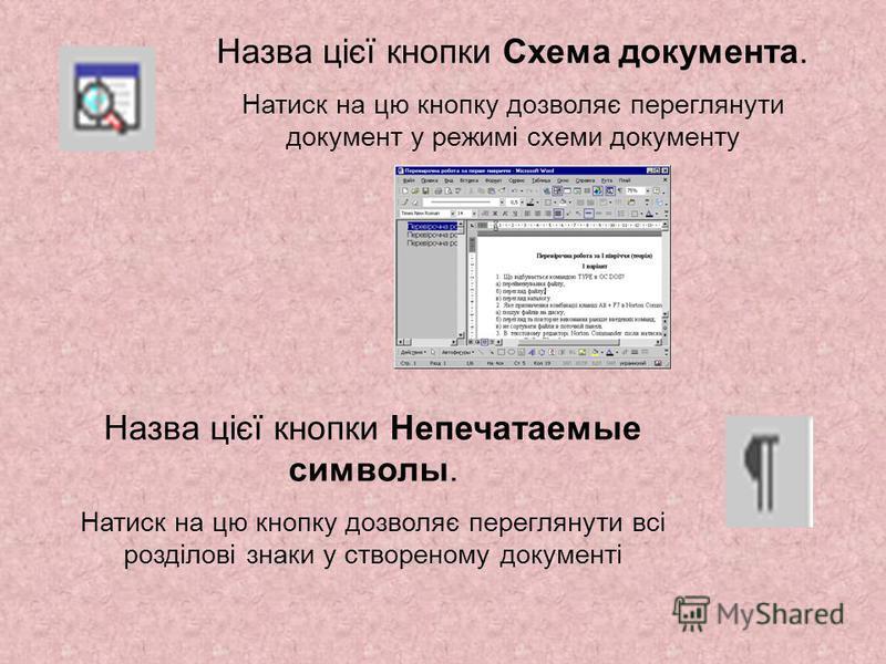 Назва цієї кнопки Схема документа. Натиск на цю кнопку дозволяє переглянути документ у режимі схеми документу Назва цієї кнопки Непечатаемые символы. Натиск на цю кнопку дозволяє переглянути всі розділові знаки у створеному документі