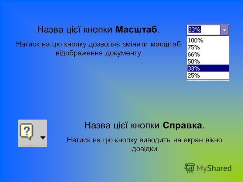 Назва цієї кнопки Масштаб. Натиск на цю кнопку дозволяє змінити масштаб відображення документу Назва цієї кнопки Справка. Натиск на цю кнопку виводить на екран вікно довідки
