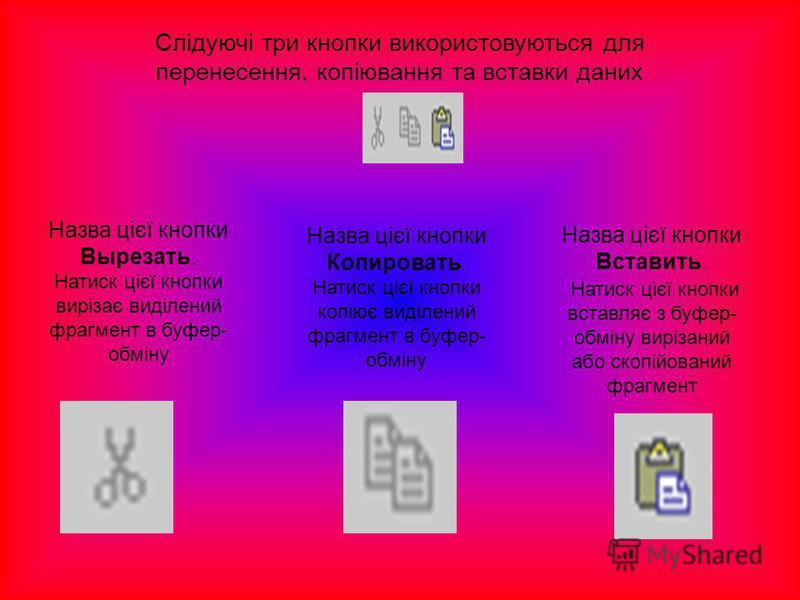 Слідуючі три кнопки використовуються для перенесення, копіювання та вставки даних Назва цієї кнопки Вырезать. Натиск цієї кнопки вирізає виділений фрагмент в буфер- обміну Назва цієї кнопки Копировать. Натиск цієї кнопки копіює виділений фрагмент в б