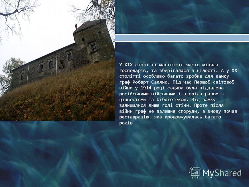 У XIX столітті маєтність часто міняла господарів, та зберігалася в цілості. А у XX столітті особливо багато зробив для замку граф Роберт Салянс. Під час Першої світової війни у 1914 році садиба була підпалена російськими військами і згоріла разом з ц