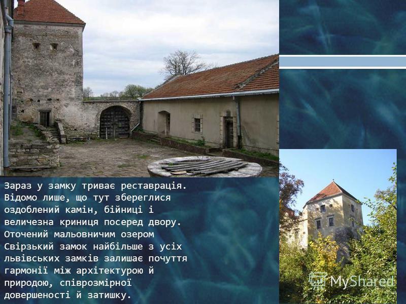 Зараз у замку триває реставрація. Відомо лише, що тут збереглися оздоблений камін, бійниці і величезна криниця посеред двору. Оточений мальовничим озером Свірзький замок найбільше з усіх львівських замків залишає почуття гармонії між архітектурою й п
