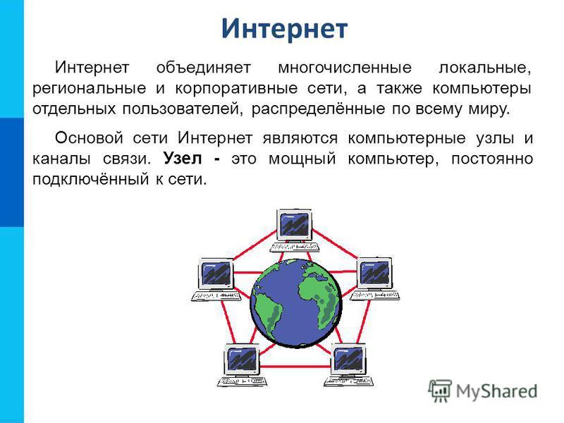 Интернет Интернет объединяет многочисленные локальные, региональные и корпоративные сети, а также компьютеры отдельных пользователей, распределённые по всему миру. Основой сети Интернет являются компьютерные узлы и каналы связи. Узел - это мощный ком