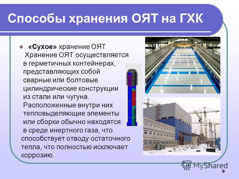 Способы хранения ОЯТ на ГХК «Сухое» хранение ОЯТ Хранение ОЯТ осуществляется в герметичных контейнерах, представляющих собой сварные или болтовые цилиндрические конструкции из стали или чугуна. Расположенные внутри них тепловыделяющие элементы или сб