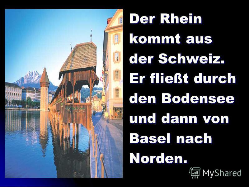 Der Rhein kommt aus der Schweiz. Er fließt durch den Bodensee und dann von Basel nach Norden.