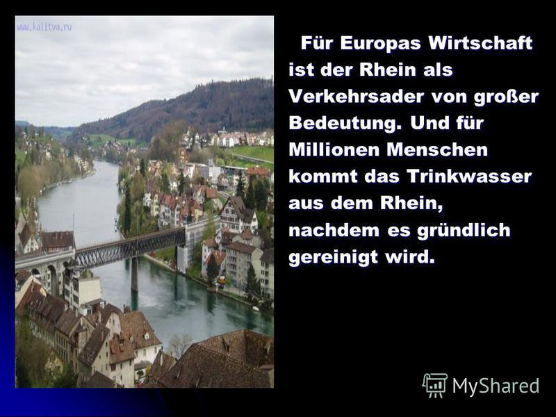 Für Europas Wirtschaft Für Europas Wirtschaft ist der Rhein als Verkehrsader von großer Bedeutung. Und für Millionen Menschen kommt das Trinkwasser aus dem Rhein, nachdem es gründlich gereinigt wird.