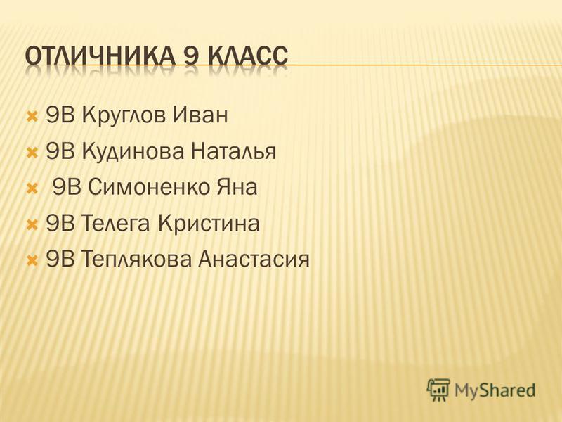 9В Круглов Иван 9В Кудинова Наталья 9В Симоненко Яна 9В Телега Кристина 9В Теплякова Анастасия