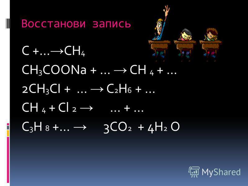 Восстанови запись C +… CH 4 CH 3 COONa + … CH 4 + … 2CH 3 CI + … C 2 H 6 + … CH 4 + Cl 2 … + … C 3 H 8 +… 3CO 2 + 4H 2 O