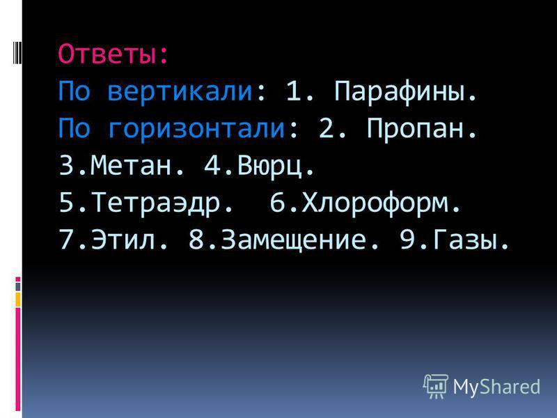 Ответы: По вертикали: 1. Парафины. По горизонтали: 2. Пропан. 3.Метан. 4.Вюрц. 5.Тетраэдр. 6.Хлороформ. 7.Этил. 8.Замещение. 9.Газы.