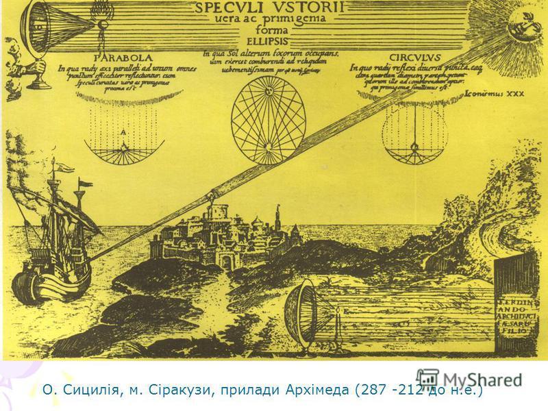 О. Сицилія, м. Сіракузи, прилади Архімеда (287 -212 до н.е.)