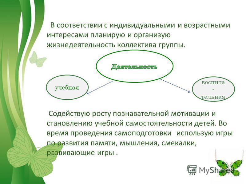 Free Powerpoint TemplatesPage 11 В соответствии с индивидуальными и возрастными интересами планирую и организую жизнедеятельность коллектива группы. Содействую росту познавательной мотивации и становлению учебной самостоятельности детей. Во время про