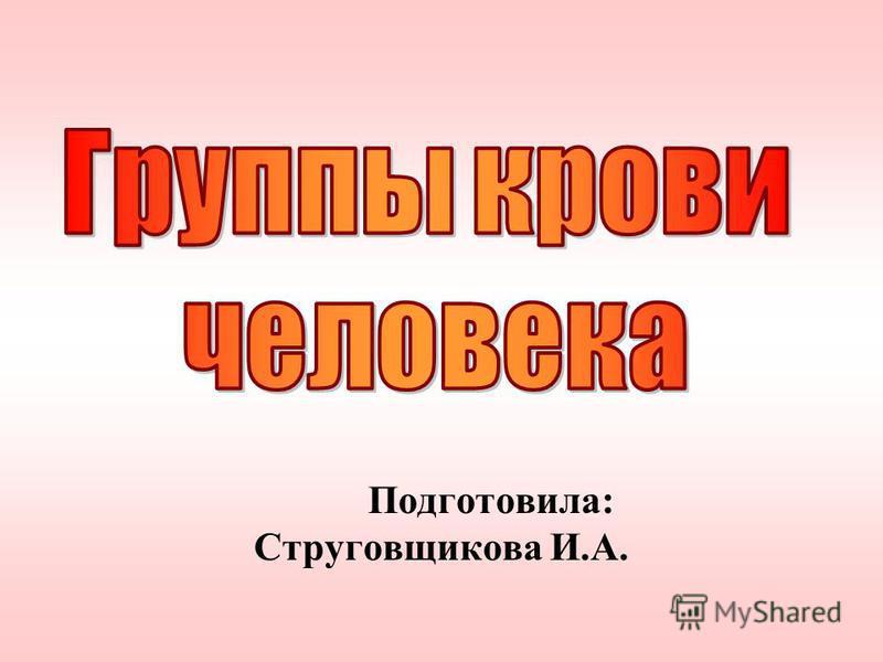 Подготовила: Струговщикова И.А.