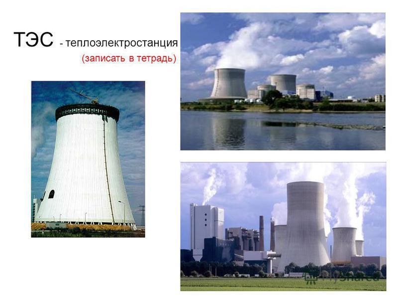 ТЭС - теплоэлектростанция (записать в тетрадь)