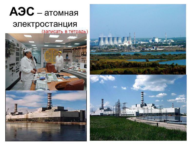 АЭС – атомная электростанция (записать в тетрадь)