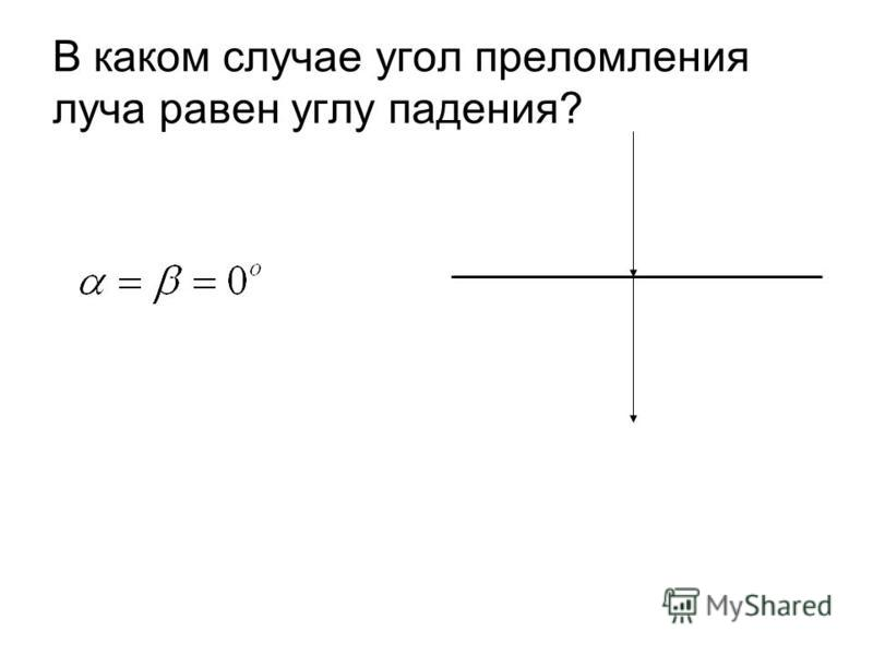 В каком случае угол преломления луча равен углу падения?