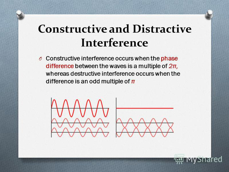 Constructive and Distractive Interference O Constructive interference occurs when the phase difference between the waves is a multiple of 2 π, whereas destructive interference occurs when the difference is an odd multiple of π